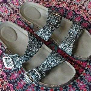 Madden Girl Silver Glitter Sandal